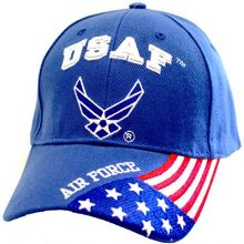 KYS Design Air Force USA Flag On Bill Adjustable Hat