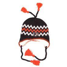 NHL Officially Licensed Philadelphia Flyers Sherpa Lined Tassel Beanie Hat Cap Lid Skull