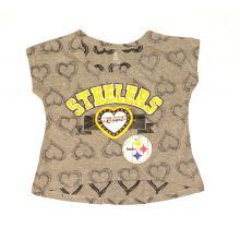 NFL Licensed Pittsburgh Steelers Girls Jeweled Cap Sleeve Shirt (Large 10/12)