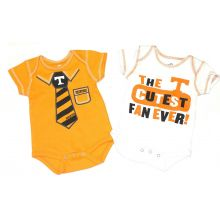 NCAA Licensed Tennessee Volunteers Necktie 2Pc. Bodysuit Creeper Crawler Set (0-3 Months)