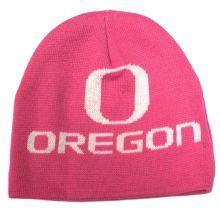 NCAA Licensed Oregon Ducks Pink Jacquard Uncuffed Beanie