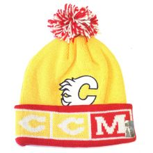 """NHL Officially Licensed Calgary Flames Yellow Red """"CCM"""" Cuffed Pom Beanie Hat Cap Lid"""