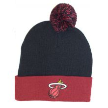 Miami Heat Black Red Cuffed Pom Beanie Hat Cap Lid Toque