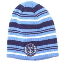 MLS Licensed New York City Football Club Cuffless Striped Knit Beanie Hat Cap Li