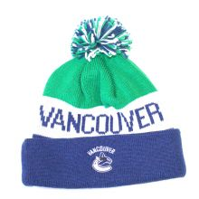 NHL Officially Licensed Vancouver Canucks Blue Green Striped Team Name Cuffed Pom Beanie Hat Cap Lid Skull