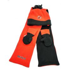 NHL Licensed TODDLER 3 Piece Fleece Hat, Scarf and Mittens Set (New Jersey Devils)