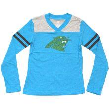 NFL Officially Licensed Carolina Panthers Green Glitter Logo Long Sleeve Girls V-Neck T-Shirt (Large (14))