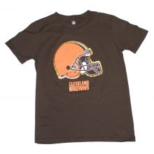 NFL Officially Licensed Cleveland Browns Reflective Gold Outline Logo Youth T-Shirt (X-Large 18)