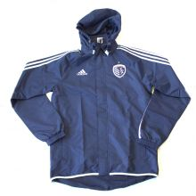 MLS Licensed Kansas City Sporting Hoooded Windbreaker Rain Jacket Coat (Medium)
