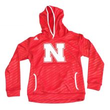 NCAA Officially Licensed Nebraska Cornhuskers Embroidered Climalite Shockwave Pattern Hoodie (Medium 10/12)
