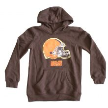 NFL Officially Licensed Cleveland Browns Reflective Gold Outline Logo Youth Hoodie (Medium 10-12)