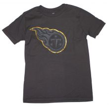 NFL Officially Licensed Tennessee Titans Reflective Gold Outline Logo Black Youth T-Shirt (Small 8)