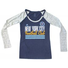 MLS Officially Licensed New York City Football Club WOMENS Navy and Gray Two Tone Long Sleeve Shirt (Small)
