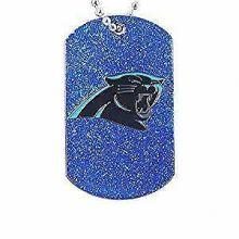 Carolina Panthers Glitter Dog Tag Necklace