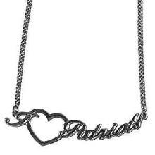 New England Patriots Heart Script Necklace
