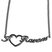 Baltimore Ravens Heart Script Necklace