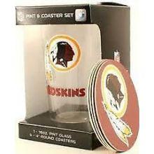 Washington Redskins Pint and Coaster Set