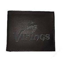 Minnesota Vikings Black Leather Bi-Fold Wallet