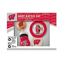 Wisconsin Badgers Wooden Baby Rattle Set