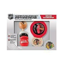 Chicago Blackhawks Wooden Baby Rattle Set