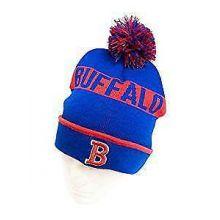 Buffalo Bills Striped Cuff Pom Beanie