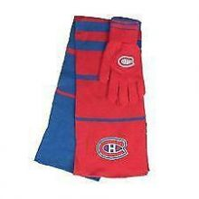 Montreal Canadiens Striped Scarf and Glove Set