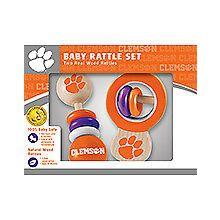 Clemson Tigers Wooden Baby Rattle Set