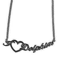 Miami Dolphins Heart Script Necklace