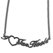 North Carolina Tar Heels Heart Script Necklace