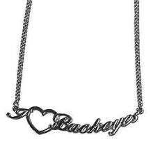 Ohio State Buckeyes Heart Script Necklace