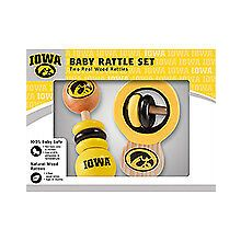 Iowa Hawkeyes Wooden Baby Rattle Set