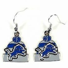 Detroit Lions Beanie Style Dangle Earrings