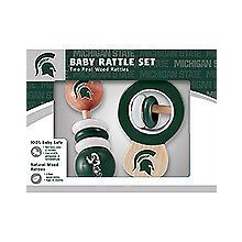 Michigan State Spartans Wooden Baby Rattle Set