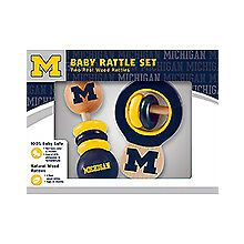 Michigan Wolverines Wooden Baby Rattle Set