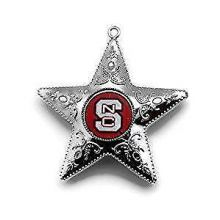 "North Carolina State Wolfpack 4"" Silver Star Ornament"