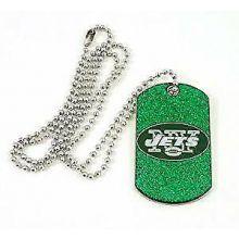 New York Jets Glitter Dog Tag Necklace