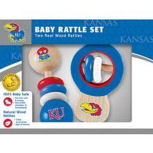 Kansas Jayhawks Wooden Baby Rattle Set
