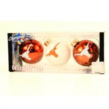 Texas Longhorns 3 Pack Round Ball Ornaments