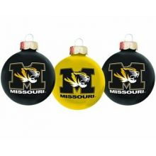 Missouri Tigers 3 Pack Round Ball Ornaments