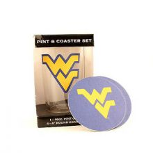 West Virginia Mountaineers Pint and Coaster Set