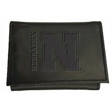 Nebraska Cornhuskers Black Leather Tri-Fold Wallet