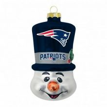 New England Patriots Blown Glass Top Hat Snowman Ornament