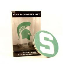 Michigan State Spartans Pint and Coaster Set