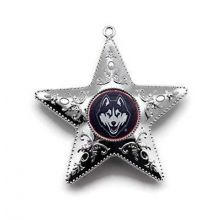 "Uconn Huskies 4"" Silver Star Ornament"