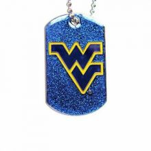 West Virginia Mountaineers Glitter Dog Tag Necklace