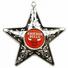 "Chicago Bulls 4"" Silver Star Ornament"