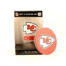 Kansas City Chiefs Pint and Coaster Set
