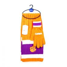 Clemson Tigers Cold Weather Knit Scarf and Glove Set