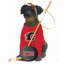 Calgary Flames Laborador Team Dog Ornament