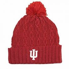 NCAA Officially Licensed Indiana Hoosiers Cuffed Cable Knit Pom Beanie Hat Cap L